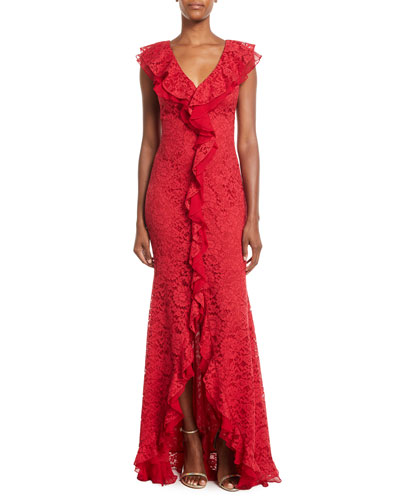 Aiden Lace Gown w/ Ruffles