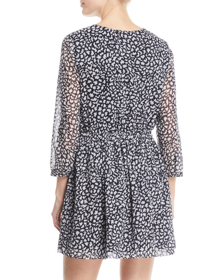 Bishhuppe Printed Button-Front Short Dress