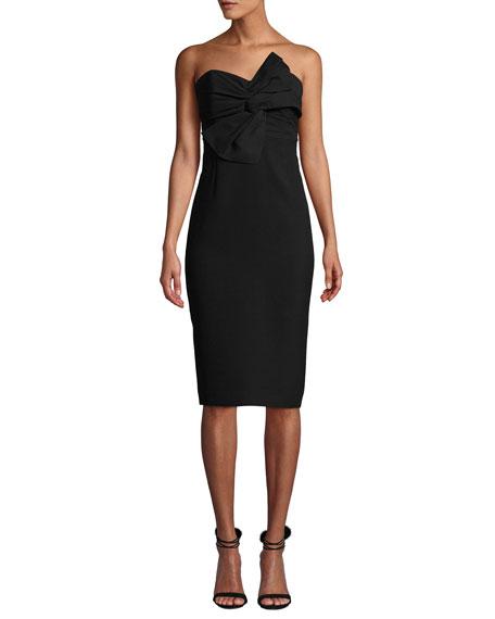 CLUB MONACO Klayton Knot-Front Strapless Cocktail Dress in Black
