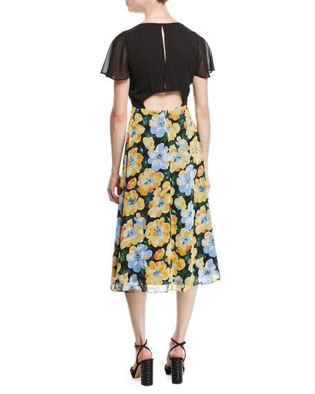 Coran Floral Flutter-Sleeve Cutout Midi Dress