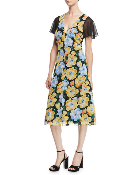 Club Monaco Coran Floral Flutter-Sleeve Cutout Midi Dress