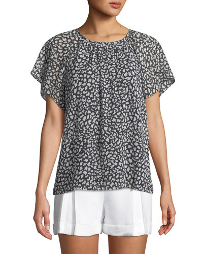 Danicah Printed Flutter-Sleeve Top