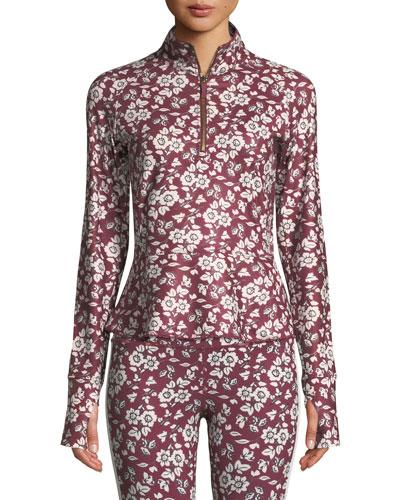 whimsy half-zip floral active jacket