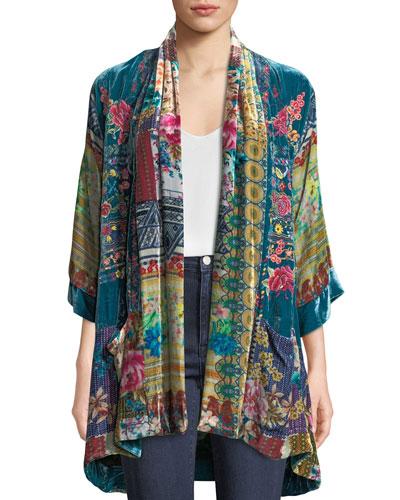 Biza Printed Velvet Kimono Jacket, Petite