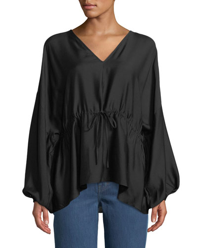 Angela Cinched V-Neck Long-Sleeve Top