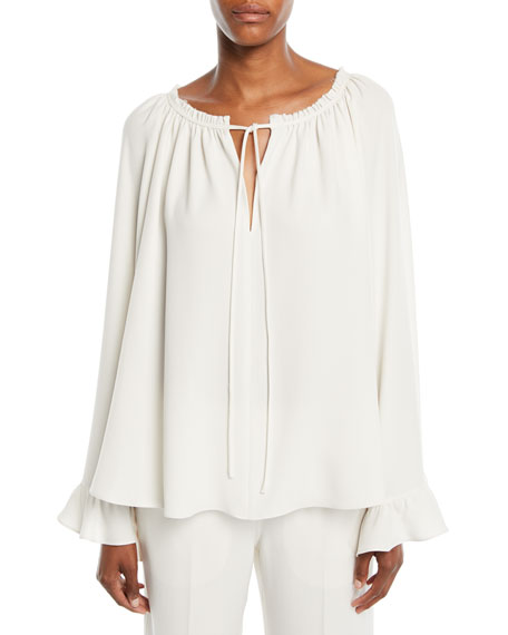 Fleur Ruffled V-Neck Long-Sleeve Top