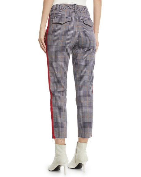 The Shaker Prep Fray Plaid Ankle Pants with Stripes