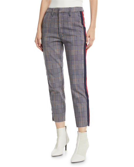 MOTHER The Shaker Prep Fray Plaid Ankle Pants