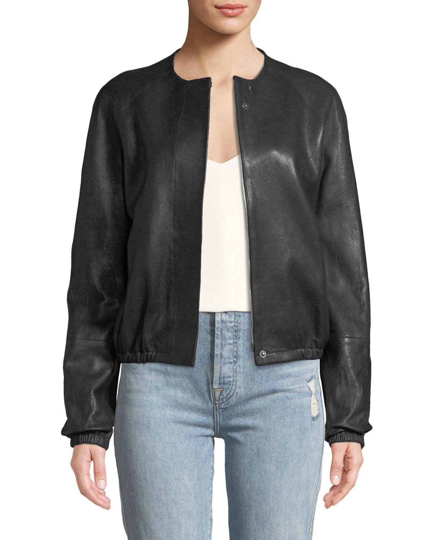 Elizabeth & James Tinley Collarless Leather Bomber Jacket