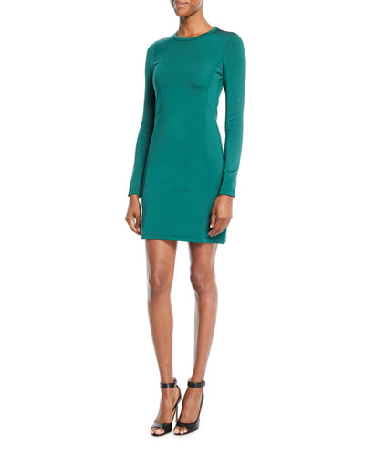 Starr Long-Sleeve Crewneck Fitted Mini Dress
