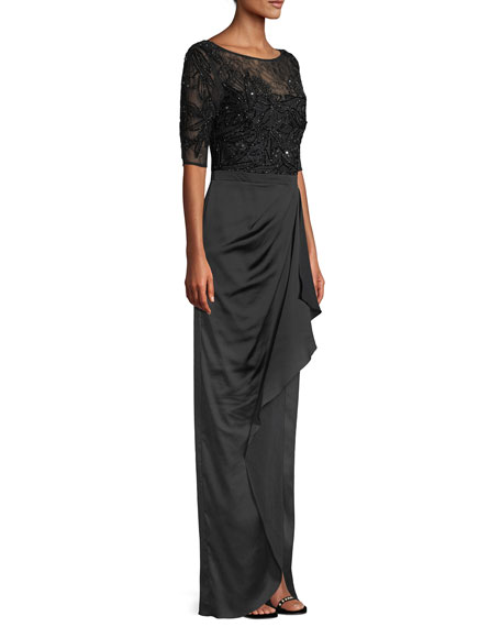 Beaded Column Gown w/ Draped Skirt