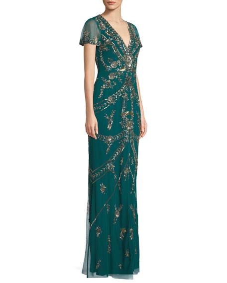 V-Neck Split Flutter-Sleeve A-Line Beaded Evening Gown w/ Center Front Slit