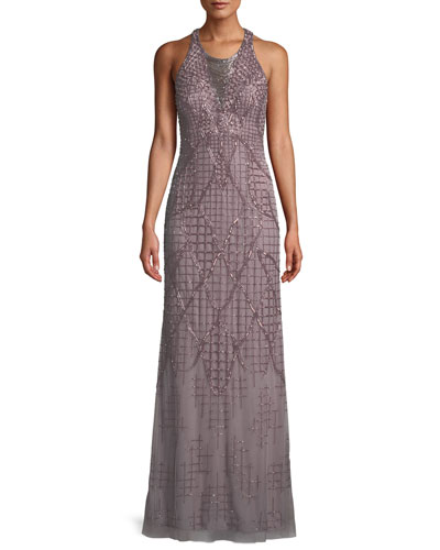 A-Line Beaded Loop Fringe Halter Evening Gown