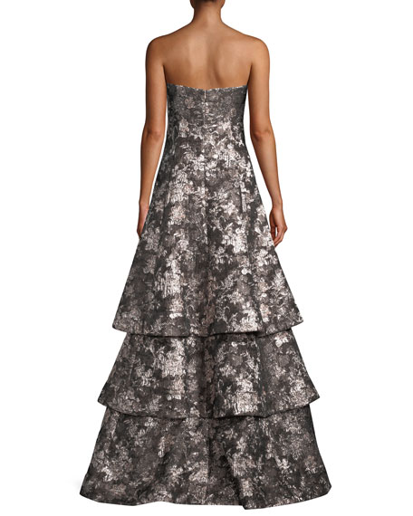 Strapless Tiered Metallic Jacquard Evening Gown