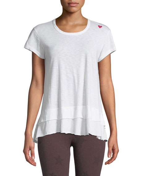 Sundry Tiered Crewneck Cotton Tee with Heart