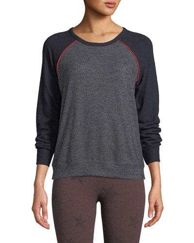 Crewneck Raglan-Sleeve Sweater w/ Piping