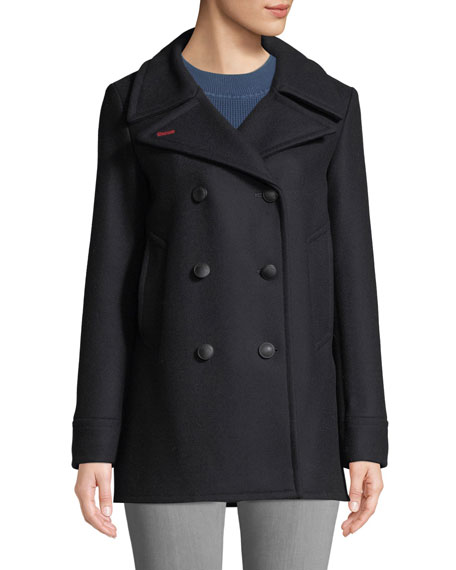 Nella Double-Breasted Wool Pea Coat