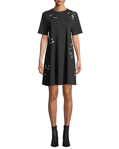 Embellished Crewneck Babydoll Dress