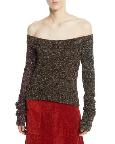 Off-the-Shoulder Metallic Long-Sleeve Sweater