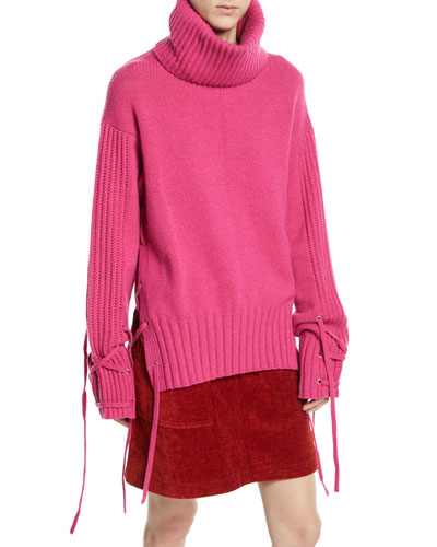 Lace-Up Wool-Cashmere Turtleneck Sweater