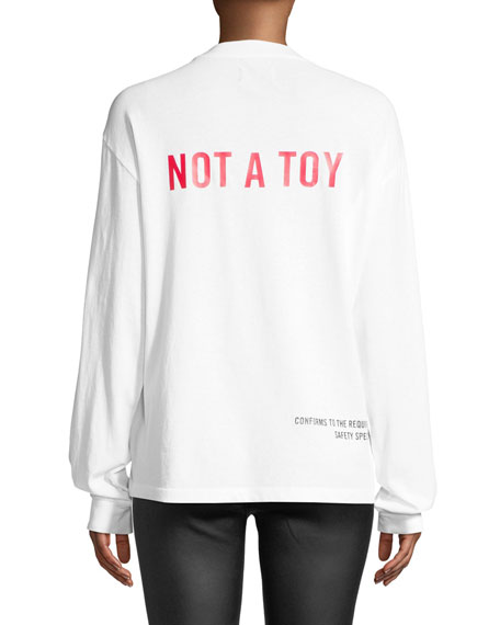 "Cruz ""Not a Toy"" Long-Sleeve Cotton Logo Tee"