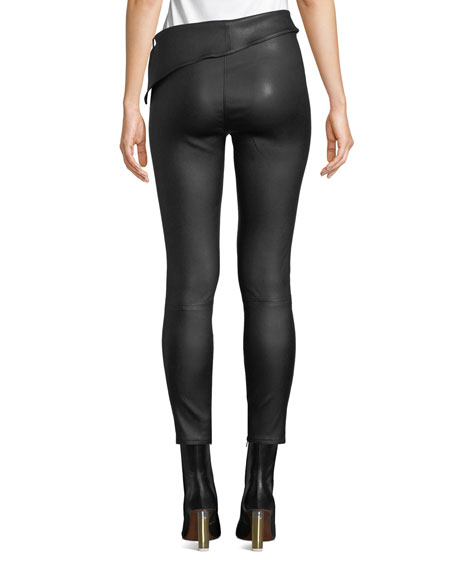 Rumer Leather Fold-Over Leggings