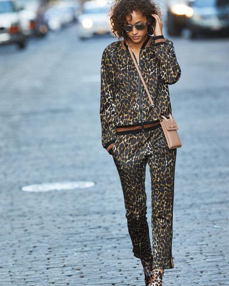 Leopard-Print Zip-Front Track Jacket