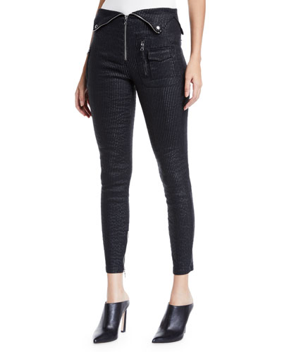 Diavolina Metallic Pinstripe Pants with Folded Waistband