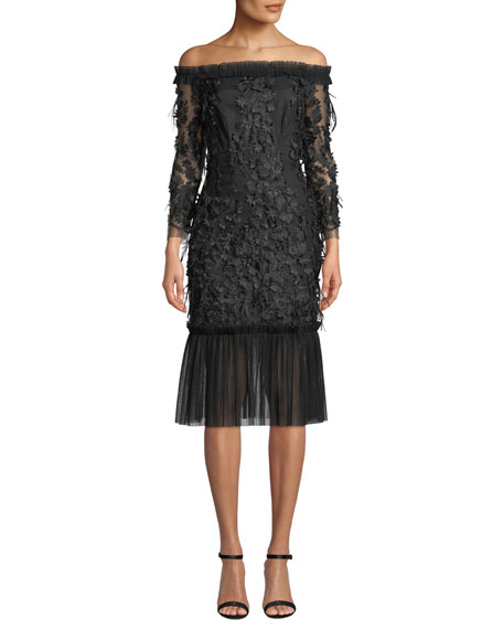 Milly Off-the-Shoulder Embroidery & Feather Dress