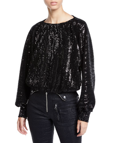 Pippa Sequin Long-Sleeve Top