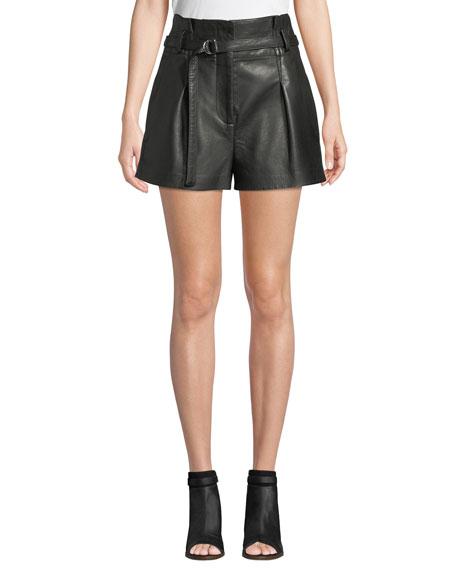 High-Waist Leather Shorts, Black