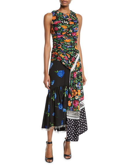 3.1 Phillip Lim Ruched Patchwork Floral Silk Dress