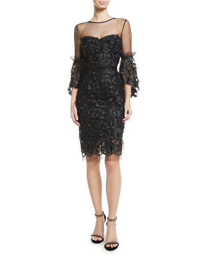 Chrissy Embroidery & Feather Dress