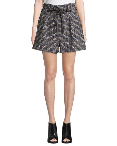 Origami Pleated Textured Tweed Shorts, Black/White