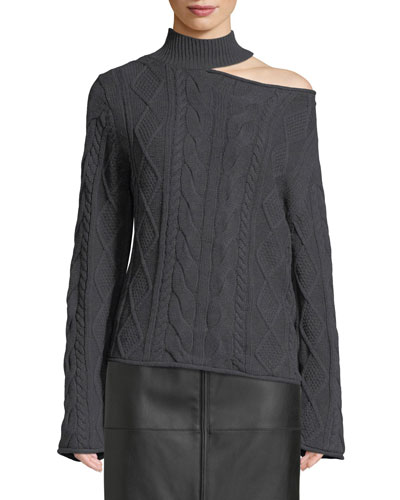 Langley Turtleneck Cutout Cable-Knit Sweater