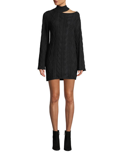 Corin Turtleneck Cutout Mini Sweaterdress