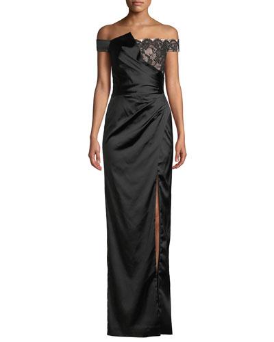 Soaran Off-the-Shoulder Dress w/ Lace