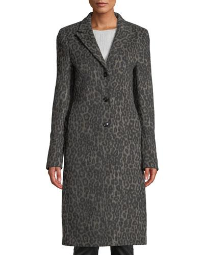 Jamson Leopard-Print Wool Long Coat