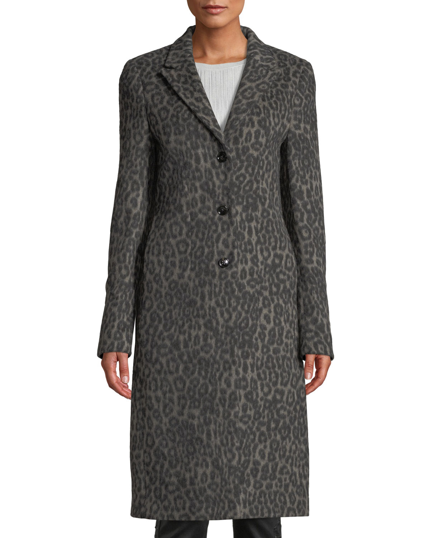 Coat Wool Neiman Leopard Long Marcus Jamson Rta Print RXwtnq