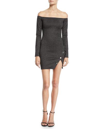 Electra Off-Shoulder Metallic Long-Sleeve Dress