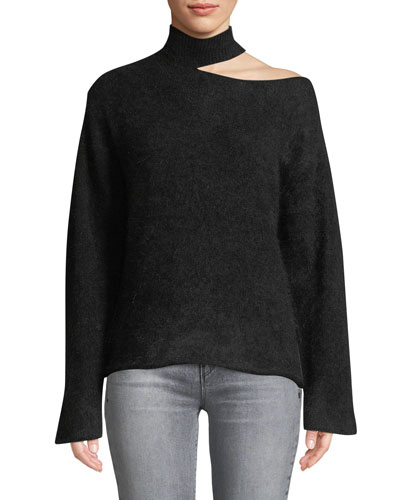 Langley Cutout Turtleneck Mohair-Wool Sweater