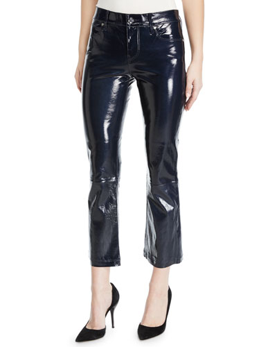 Kiki Patent Leather Flare-Leg Cropped Pants
