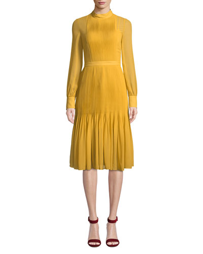 Pleated Long-Sleeve Chiffon Dress