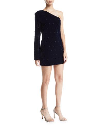 Edie Velvet One-Shoulder Embellished Dress
