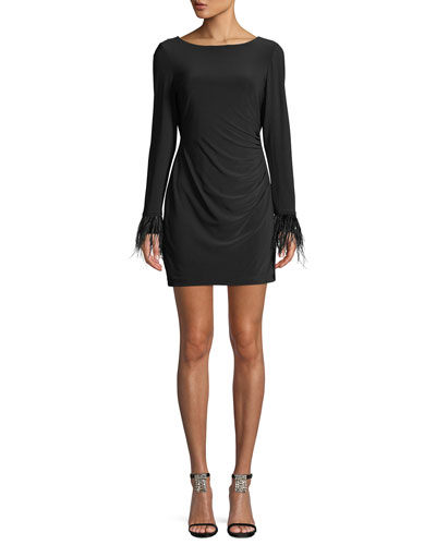 Wright Long-Sleeve Feather-Cuff Draped-Back Jersey Mini Cocktail Dress