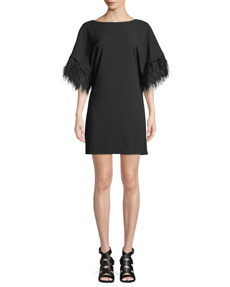 Budden Mini Dress w/ Feather Sleeves