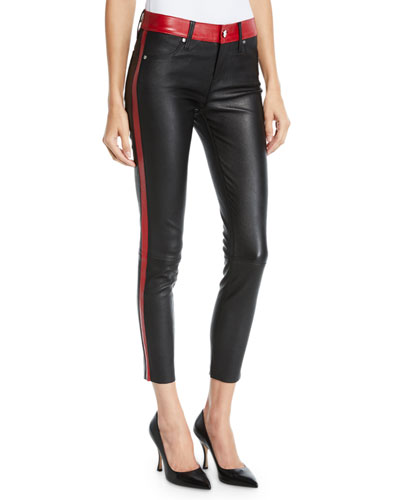 Ryland Two-Tone Skinny Leather Pants