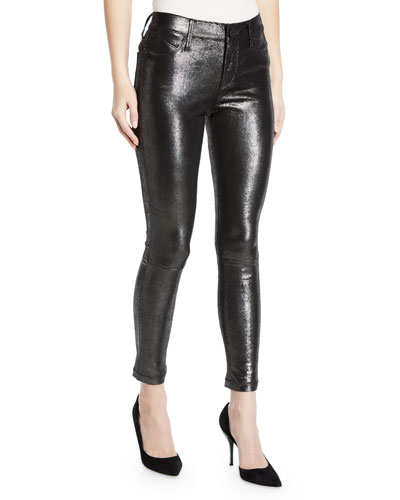 Prince Metallic Leather Skinny Pants