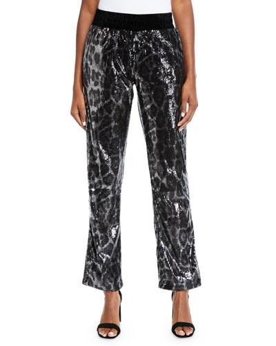 Ash Sequin Leopard-Print Jogger Pants