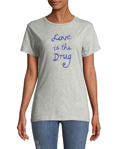 Love Is The Drug Graphic Crewneck Tee in Grey
